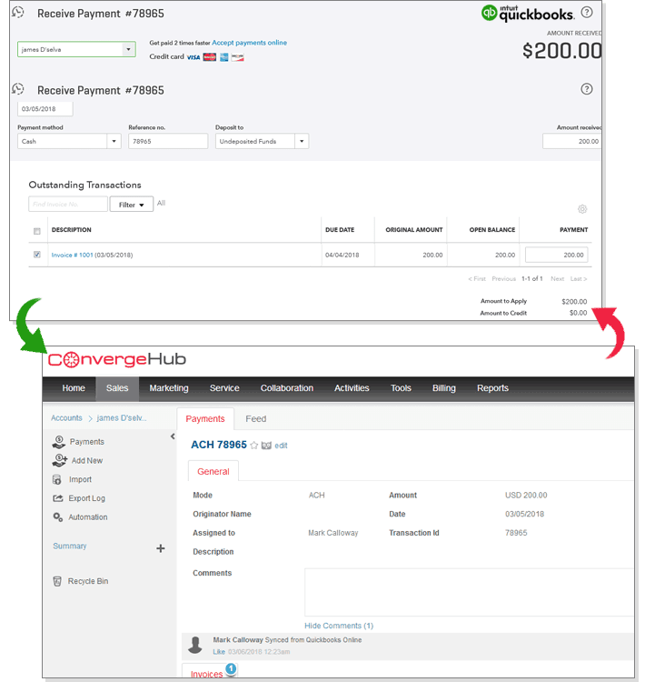 CRM sync with quickbooks
