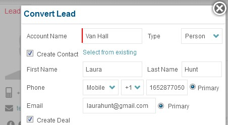 Converting a Lead to Contact and Deal